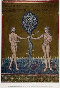 Адам Ева и змей у древа