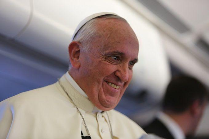 Пресс-конференция Папы Франциска на борту самолета во время перелета из Шри-Ланки на Филиппины