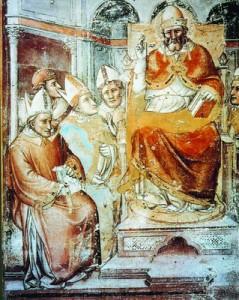 Папа Григорий в окружении епископов. Роспись церкви Санта Мария Новелла во Флоренции