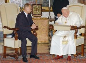 Иоанн Павел II и президент России Владимир Путин