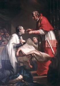 Архиепископ Карл Борромео преподает Перое Святое Причастие Алоизию Гонзаге