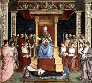 Канонизация св. Екатерины Сиенской Папой Пием II