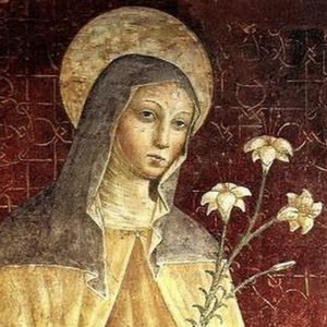 Святая Клара с лилиями