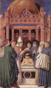 Архиепископ Амвросий Медиоланский крестит св. Августина
