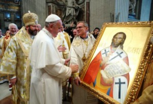 Папа Франциск у иконы св. Иосафата Кунцевича
