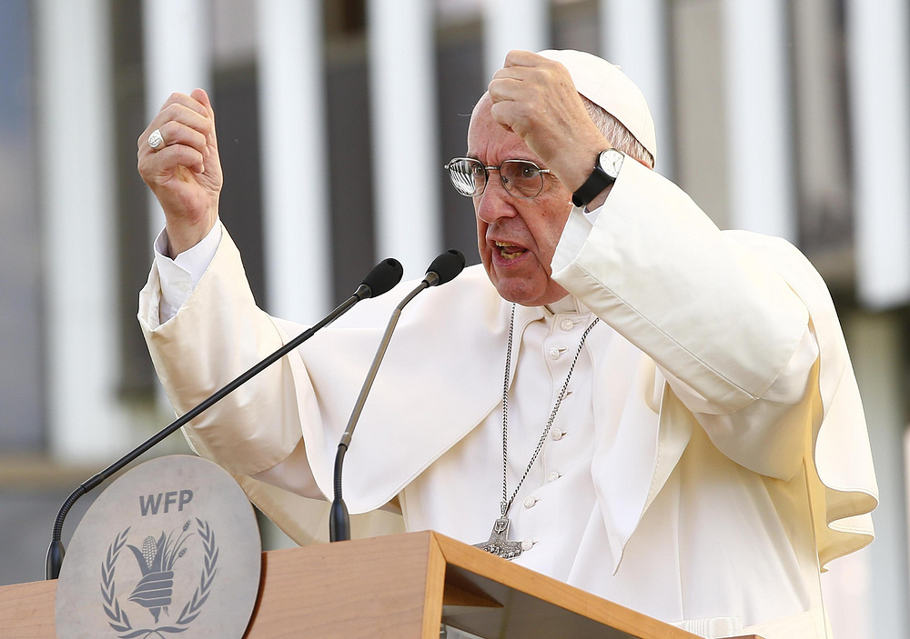 Pope Francis during visits the United Nations World Food Progamme (WFP) headquarter in Rome