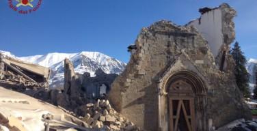 В Италии подземные толчки обрушили стену базилики XV века