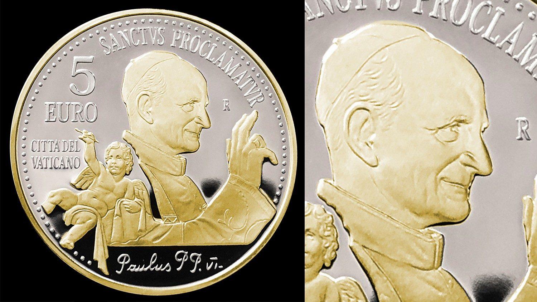 Ватикан впервые выпустил монету с позолотой в честь канонизации Павла VI (+ ФОТО)