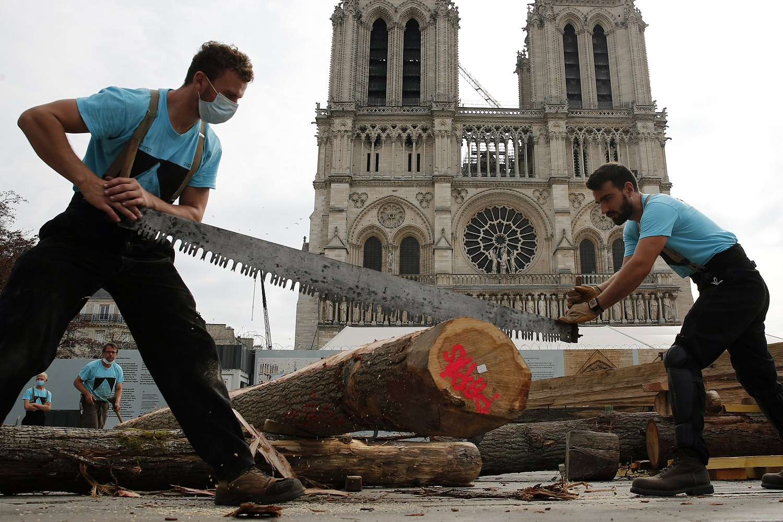 Крышу собора Нотр-Дам воссоздают по средневековой технологии (ФОТО + ВИДЕО)