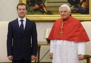 Президент Медведев и Папа Бенедикт XVI, аудиенция 3 декабря 2009 года