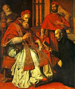 Игнатий Лойола на аудиенции у Папы Павла III