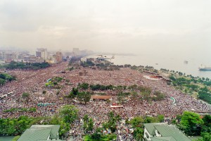 Манила. Всемирный день молодежи 1995 г. Папа Иоанн Павел II на вертолете