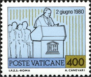 Ватиканская марка в честь выступления Иоанна Павла II в ЮНЕСКО