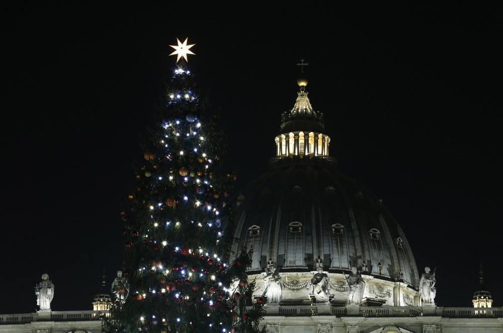 Рождественская ель зажгла свои огни на площади Св. Петра (ФОТО)