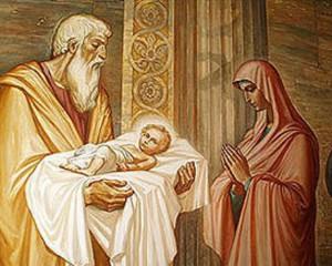 Старец Симеон благословляет Млаженца Иисуса и Деву Марию