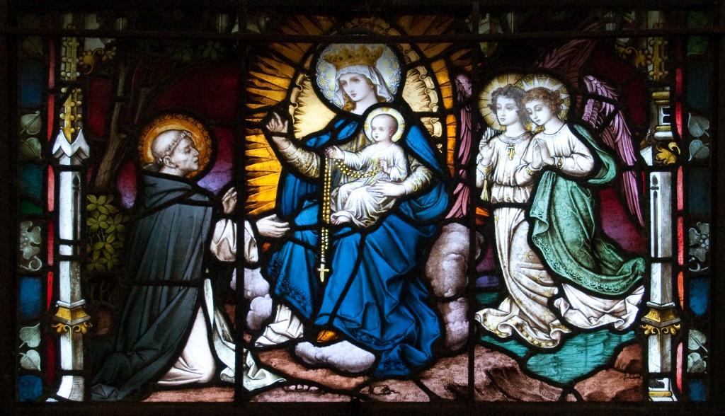 Пресвятая Дева Мария вручает св. Доминику розарий