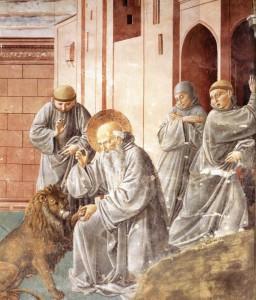 Беноццо Гоццоли. Святой Иероним исцеляет льва
