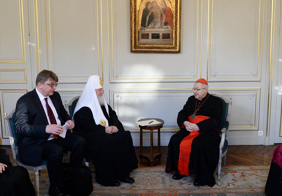 Патриарх Кирилл и католический архиепископ Парижа обсудили защиту традиционных ценностей