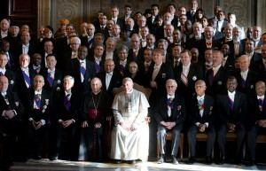 Pope Francis poses for photo with ambassadors to Holy See during meeting at Vatican
