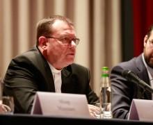 """Выступление архиепископа Павла Пецци на круглом столе с представителями различных религий на тему """"Бог есть любовь: милосердие в разных религиозных традициях"""""""