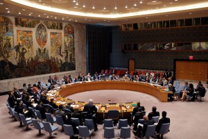 The United Nations Security Council sit for a high level meeting on Syria at the United Nations in Manhattan, New York