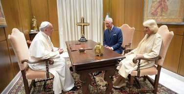 Папа встретился с принцем Уэльским и герцогиней Корнуольской