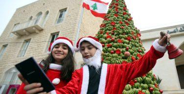 В Ливане установили рождественскую елку из тонны бананов
