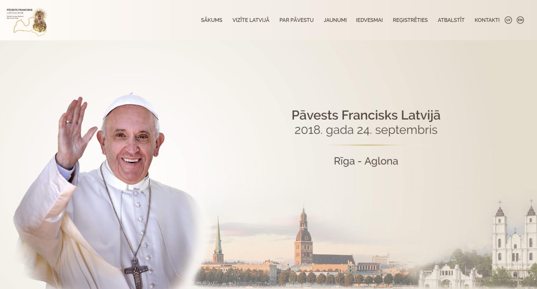 Создан сайт, на котором можно узнать о визите Папы Римского Франциска в Латвию