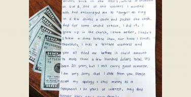 Верующая женщина в США вернула краденые деньги из-за угрызений совести (через 20 лет)