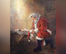 Facebook заблокировал изображение Санта-Клауса, стоящего на коленях перед новорожденным младенцем Иисусом